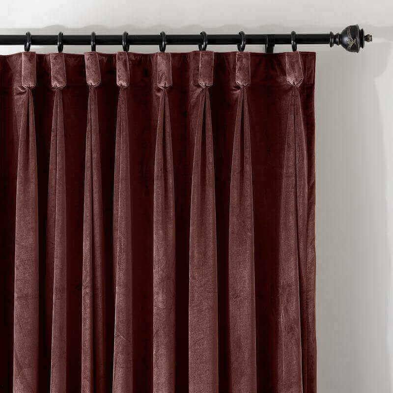 CUSTOM Birkin Burgundy Velvet Curtain Drapery With Lining For Traverse Rod Pole or Track