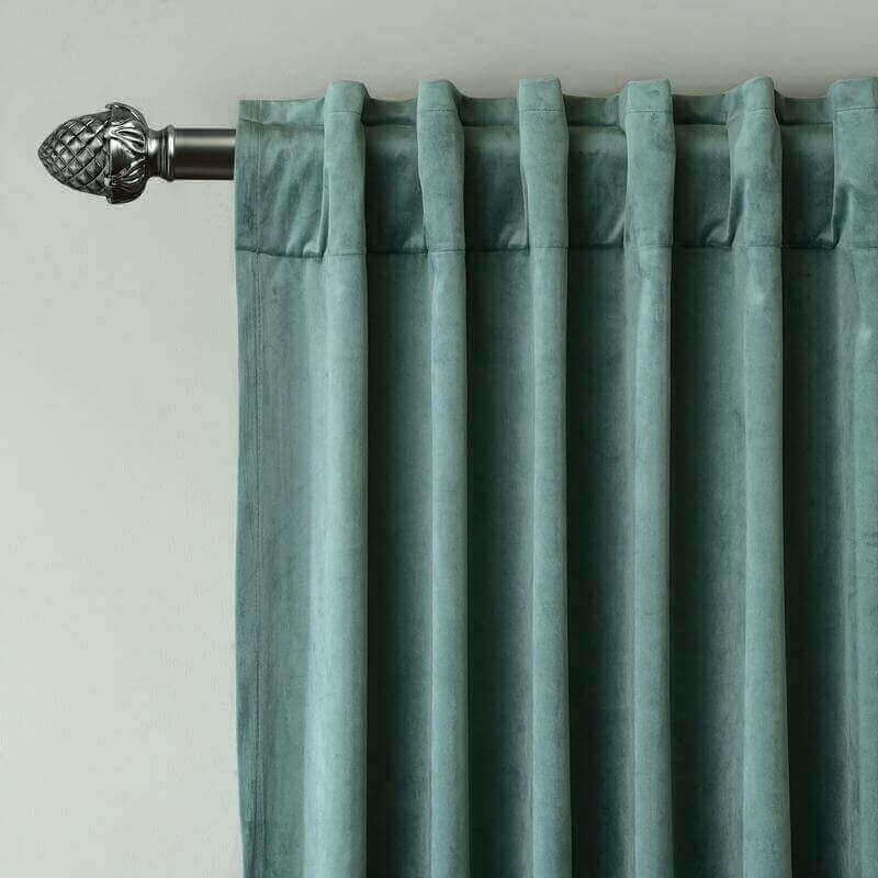 CUSTOM Birkin Teal Velvet Curtain Drapery With Lining For Traverse Rod Pole or Track