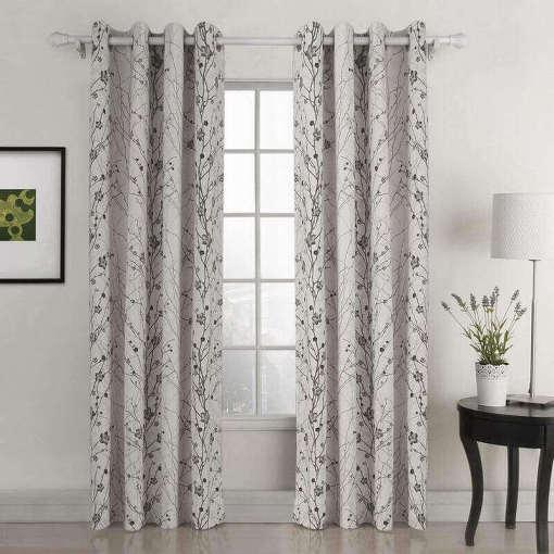 Nickel Grommet Plum Blossom Polyester Blackout Lined Curtain Drape Sofitel