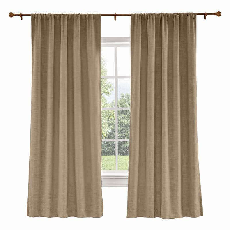 CUSTOM Liz Rust Brown Polyester Linen Curtain Drapery with Lined