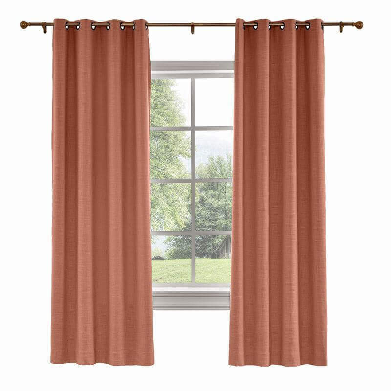 CUSTOM Liz Firebrick Polyester Linen Curtain Drapery with Lined