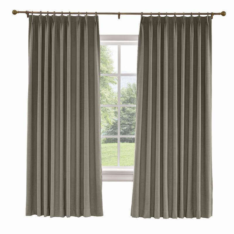 CUSTOM Liz Ebony Polyester Linen Curtain Drapery with Lined