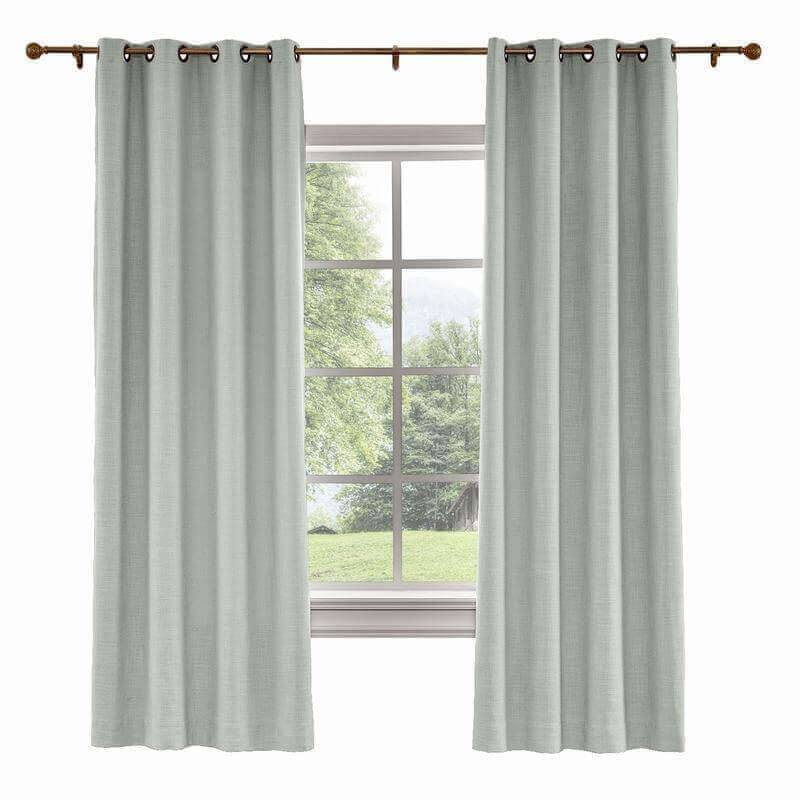 CUSTOM Liz Sand White Polyester Linen Curtain Drapery with Lined