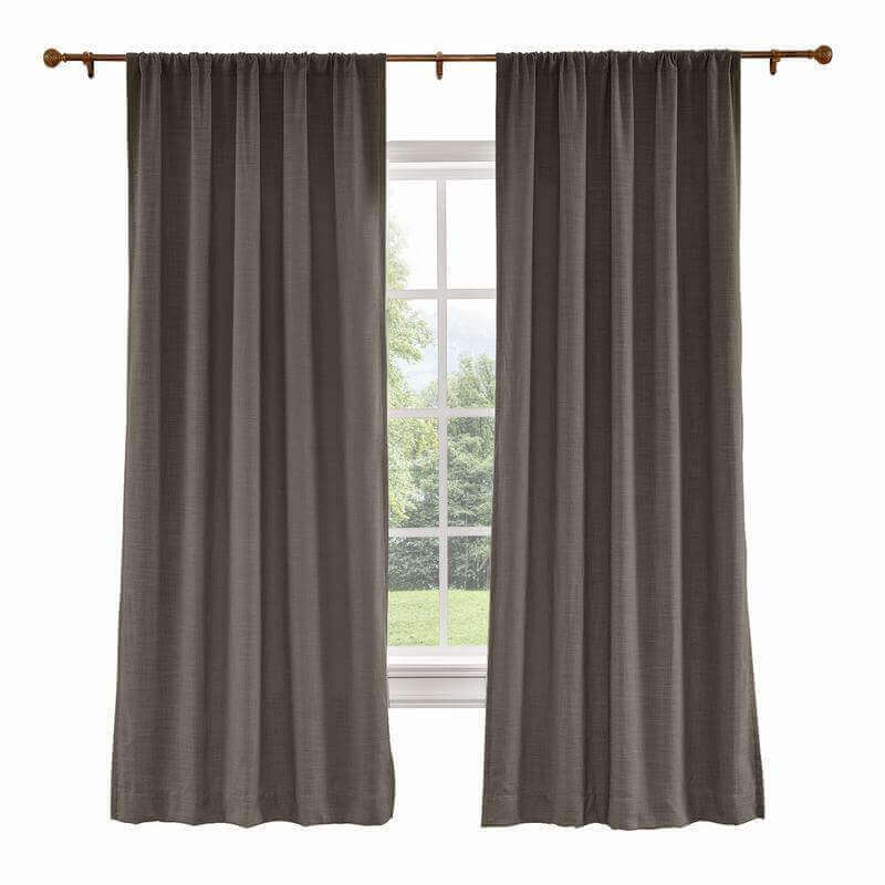 CUSTOM Liz Chocolate Tart Polyester Linen Curtain Drapery with Lined
