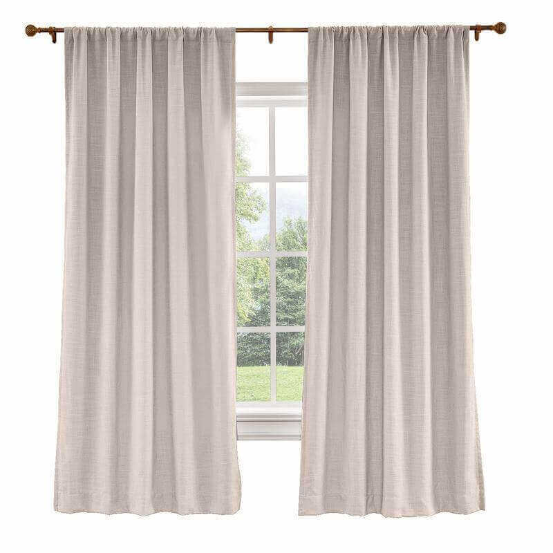 CUSTOM Liz Pink Lemonade Polyester Linen Curtain Drapery with Lined