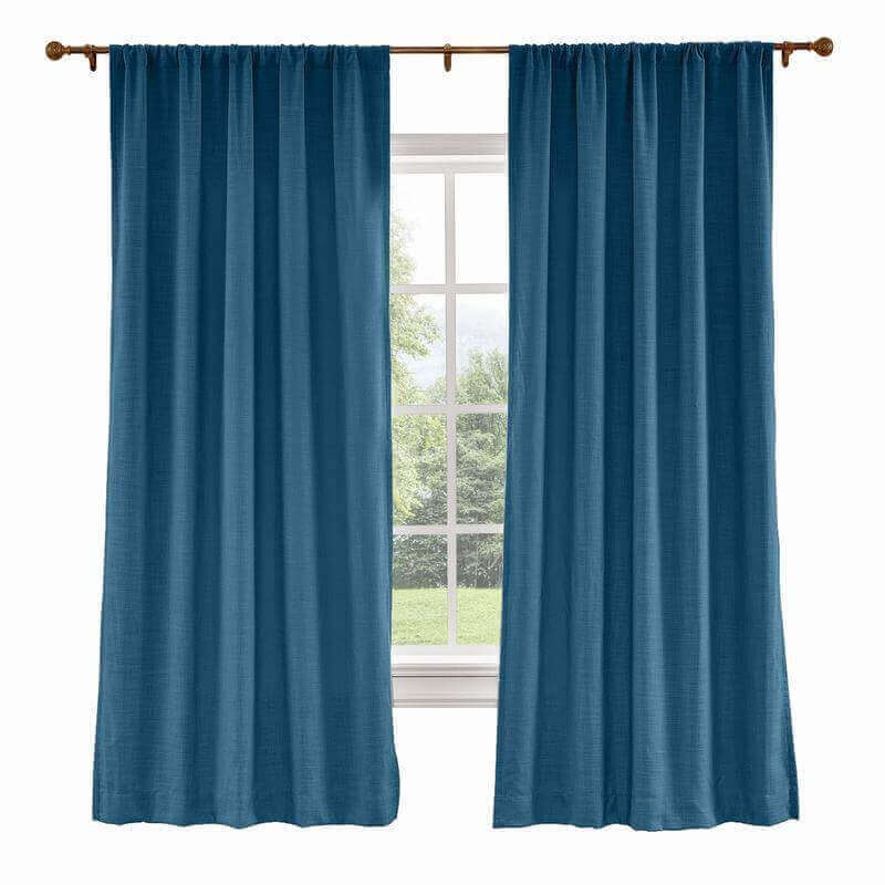CUSTOM Liz Navy Blue Polyester Linen Curtain Drapery with Lined