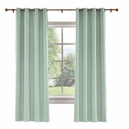 CUSTOM Liz Aqua Polyester Linen Curtain Drapery with Lined