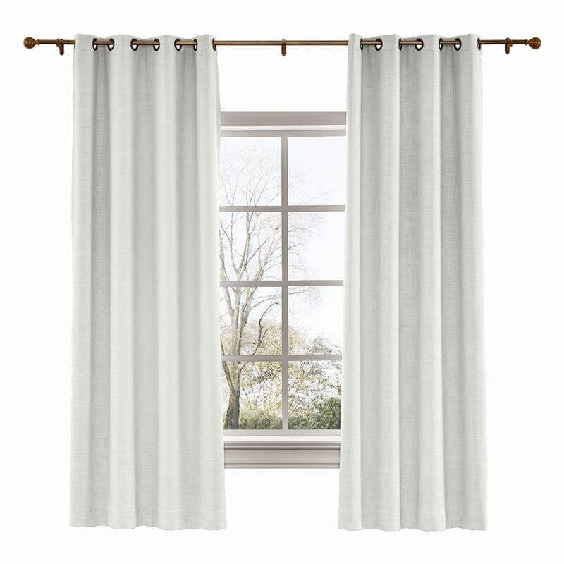 CUSTOM Liz Ivory White Polyester Linen Curtain Drapery with Lined