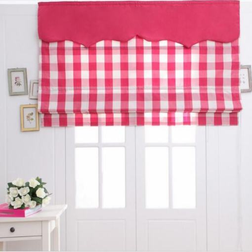 Plaid Print Polyester Cotton Roman Shade In Red
