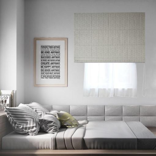 Stripe Polyester Roman Shade In Grey White