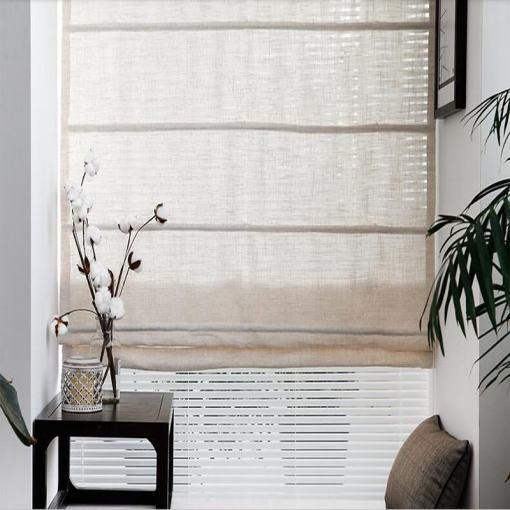 Polyester Linen Roman Shade In Beige