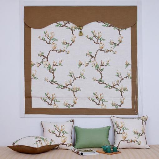 Print Cotton Linen Roman Shade In Brown