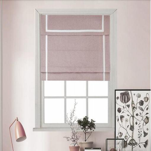 Stripe Print Polyester Roman Shade In Pink