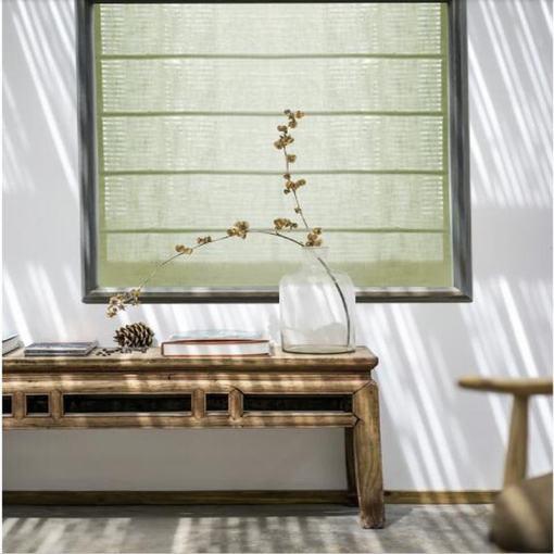 Polyester Linen Roman Shade In Green