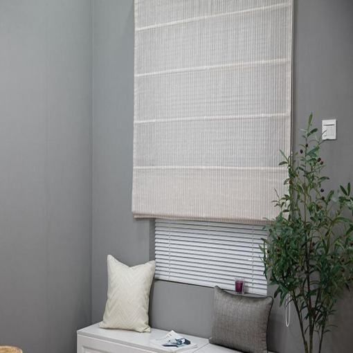 Polyester Linen Roman Shade In White