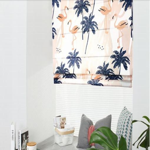 Print Polyester Roman Shade In Navy