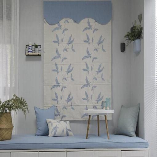 Embroidered Cotton Linen Roman Shade In Blue