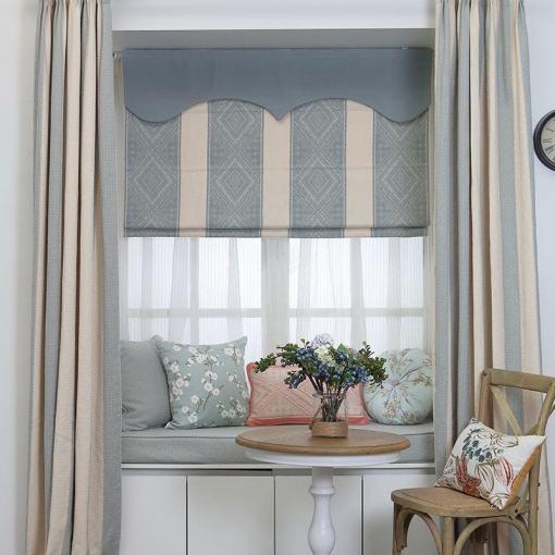 Stripe Cotton Linen Roman Shade In Blue