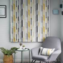 Print Polyester Cotton Roman Shade In Yellow