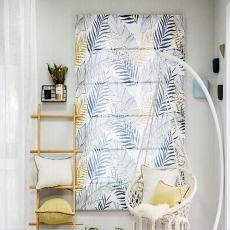 Print Polyester Roman Shade In Blue