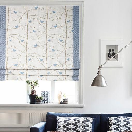 Print Cotton Polyester Linen Roman Shade In Blue