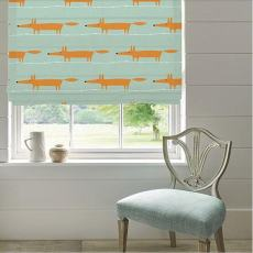 Print Polyester Roman Shade In Orange