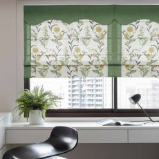 Print Polyester Roman Shade In Green