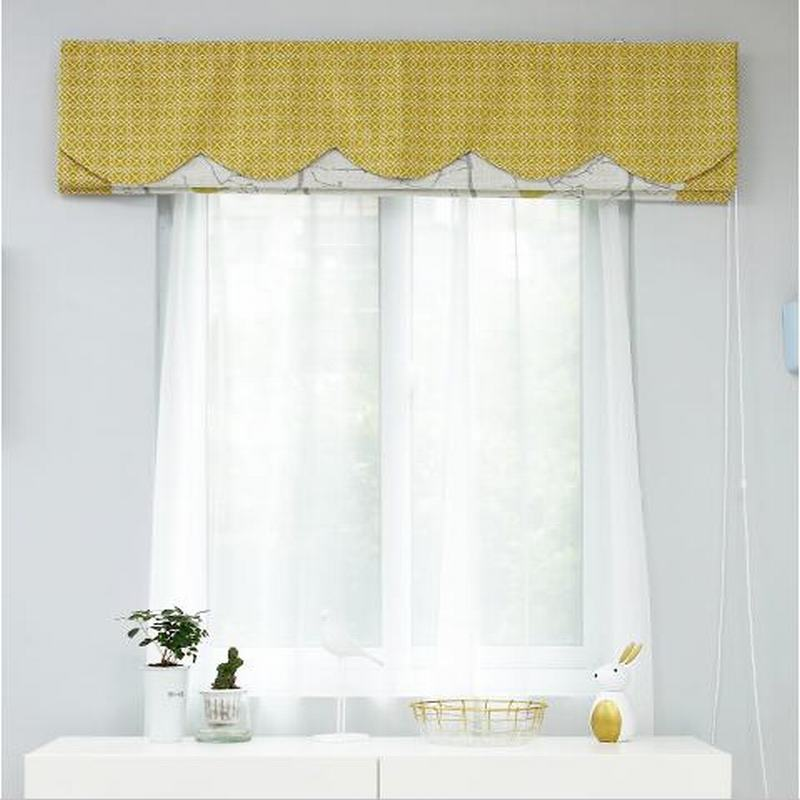 Print Cotton Polyester Linen Roman Shade In Yellow
