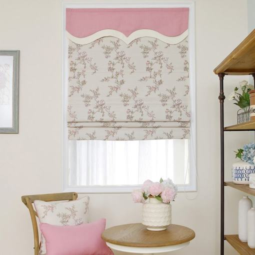 Print Polyester Roman Shade In Pink