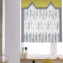 Print Polyester Roman Shade In Yellow
