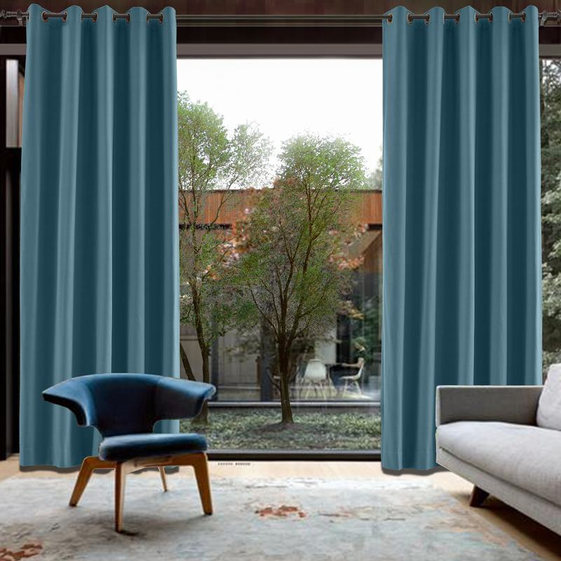 CUSTOM Capri Dark Blue Blackout Curtains with Liner
