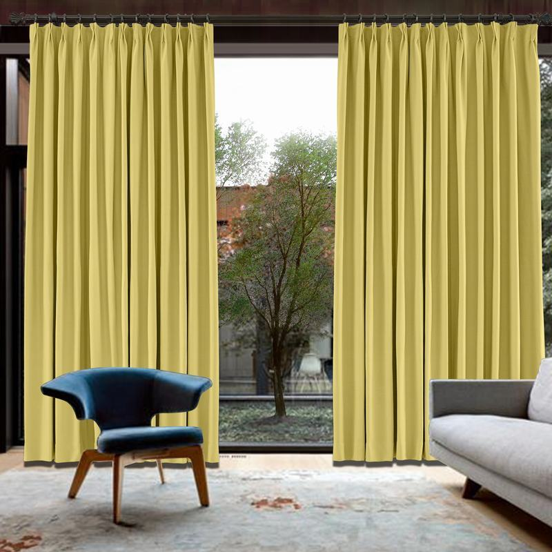 CUSTOM Capri Banana Yellow Blackout Curtains with Liner