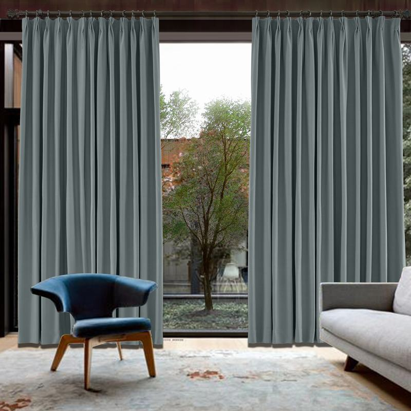 CUSTOM Capri Grey Blackout Curtains with Liner