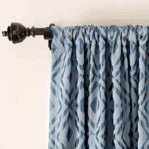 Rod Pocket Dust Proof Rhomboid Jacquard Curtain Two-Toned Damask Diamond with Blackout Lined