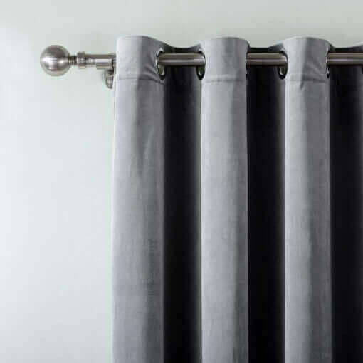Set of 2 Velvet Curtain Panel in Nickel Grommet Unlined Drape