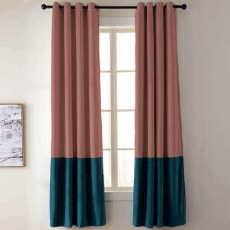 2 Toned Blackout Lined Pieced Patchwork Grommet Velvet Curtain BIRKIN