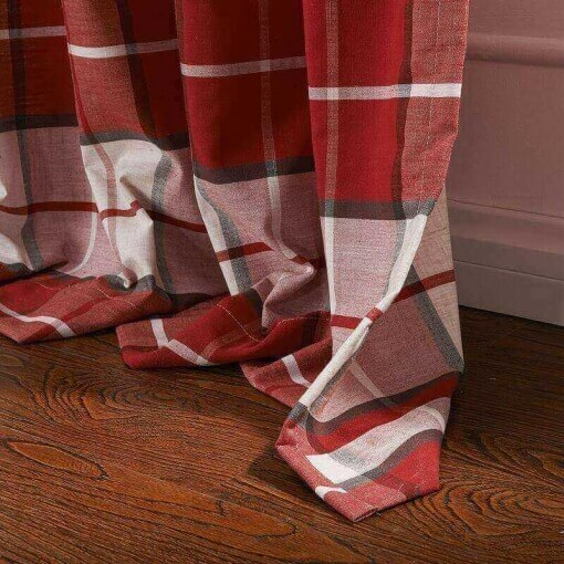 Antique Bronze Grommet Plaid Gingham Check Outdoor Curtain