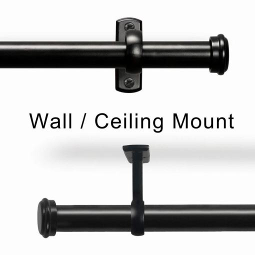 Ceiling or Wall Mounted Curtain Rod, Hanging Rod Set for Window Room Divider  44-156 inches