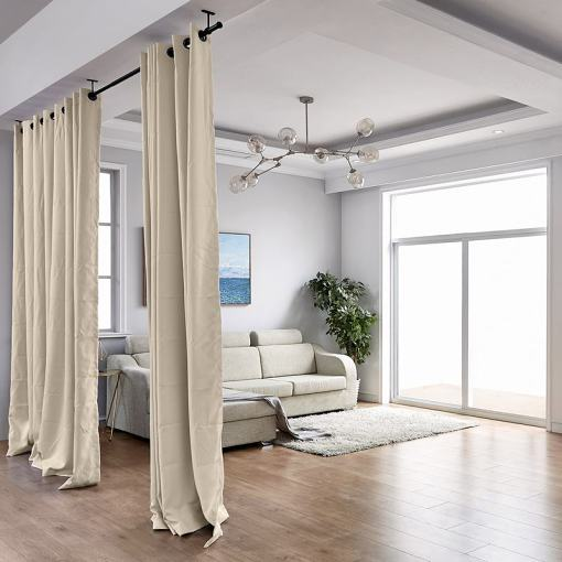 Hanging Rod Room Divider Curtain Kit for Any Space