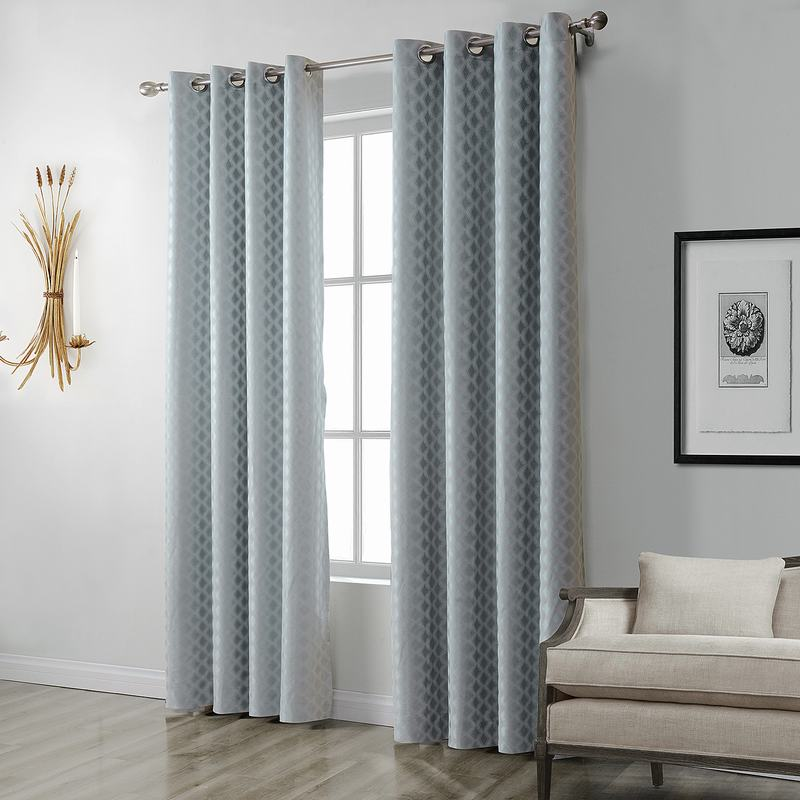 Jacquard Diamond Curtain Drapery ZAC