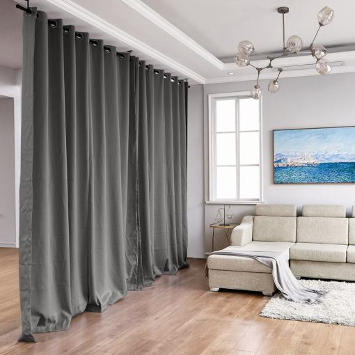 Hanging Rod Room Divider Flame Retardant Fireproof Curtain Kit for Any Space
