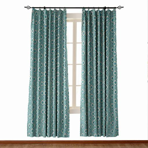Dust Proof Blackout Pinch Pleated Jacquard Window Curtain Two-Toned Damask Diamond with Blackout Lined NINA