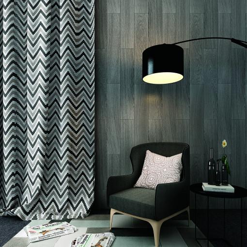 Chevon Zigzag Print Polyester Cotton Curtain ADA