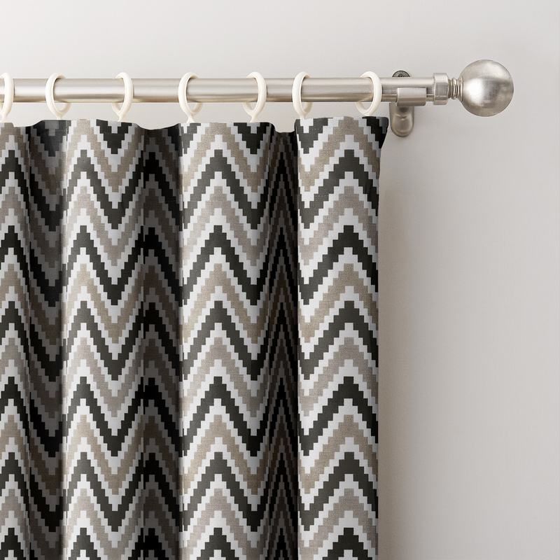 Chevon Zigzag Print Polyester Cotton Curtain ADA