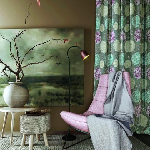 Cartoon Flowers Printed Window Drape Thermal Insulated Curtain EMMETT
