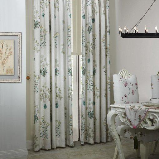 Botanical Floral Print Polyester Cotton Curtain Drape AURORA