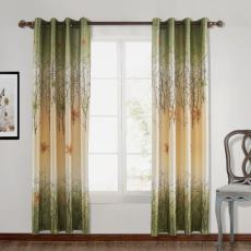 Maple Leaf Print Polyester Window Drapery Curtain AVA