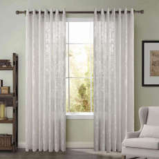 Premium Embroidery Grommet White Sheer Curtain ISLA