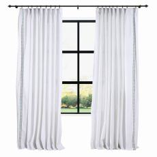 AMARA Polyester Linen Curtain Drapery With Decorative Trim Custom Sold Per Pair