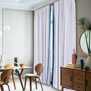 ADAH Velvet Curtain Drapery with Color Border Custom Sold Per Pair